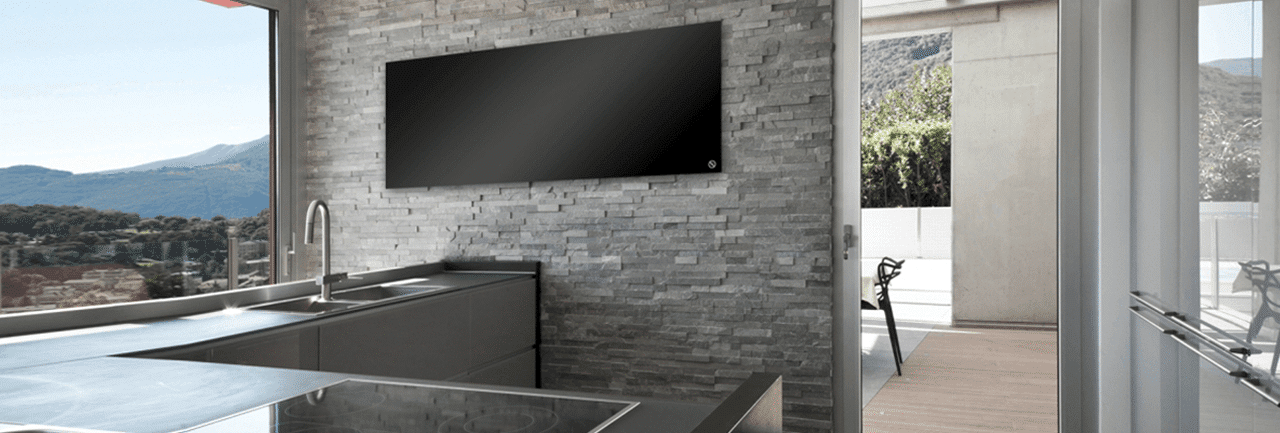 Radiador por infrarrojos INFRA-PANEL negro en cocina