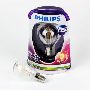 Bombilla esfera LED FILAMENTO E14 | Philips 2.3W