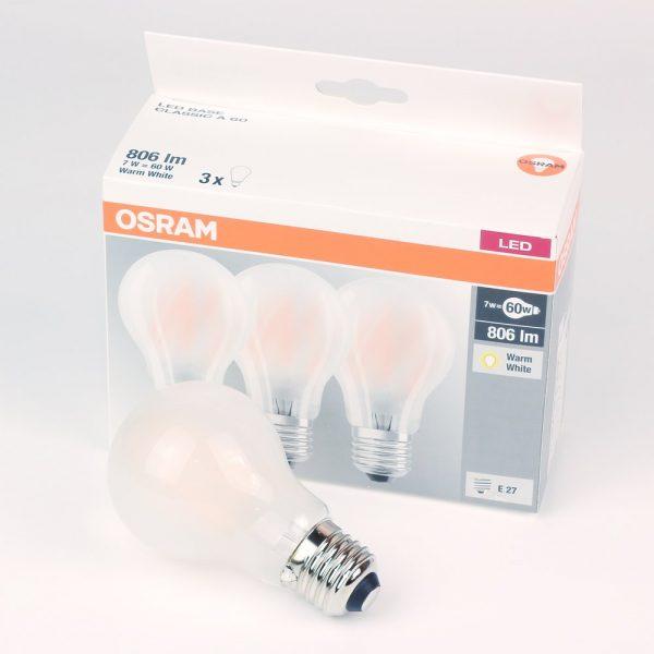 Bombilla LED E27 opaca | 3x OSRAM CLASSIC 7W