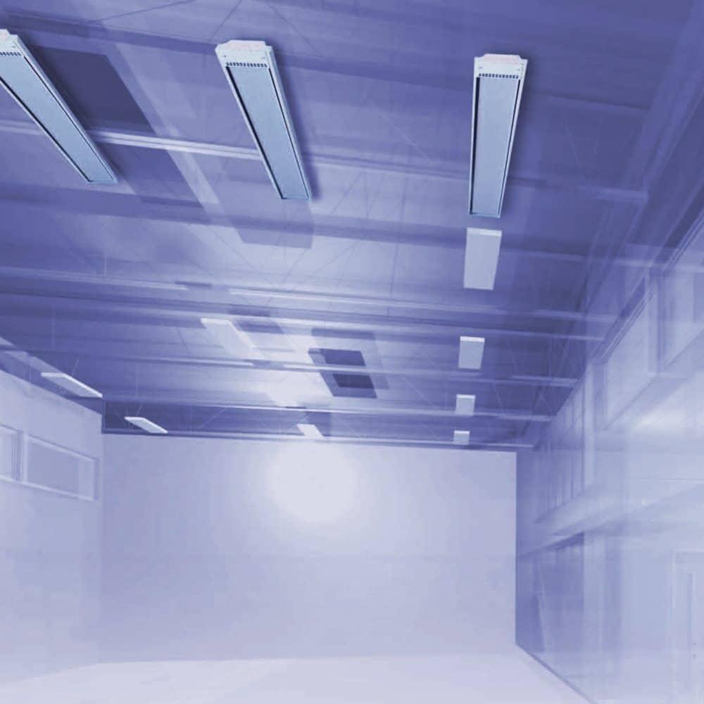 Calefacción industrial-Radiadores alta temperatura en techo